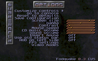 Fodquake options menu